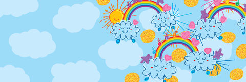 Sun cloud rainbow naive banner stock illustration