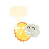 sun and cloud retro cartoon Stock Photos