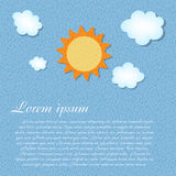 Sun and cloud retro grunge background vector. Illustration. This is file of EPS10 format Royalty Free Stock Image