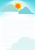 Sun and cloud on the sky background template of page layout design with line for text. Stock Image