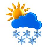Sun and cloud and snowflake on white background. Isolated 3D ill. Ustration stock illustration