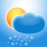 Sun, cloud and snowflakes Royalty Free Stock Image