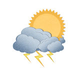 Sun with cloud and thunderbolt on white background Royalty Free Stock Photography