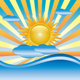 Sun with cloud vector Royalty Free Stock Images