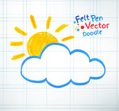 Sun and cloud stock illustration