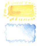 Sun and cloud watercolor frame Stock Images