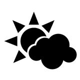 Sun cloud weather symbol pictogram Royalty Free Stock Photos