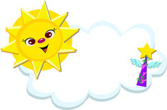 Sun with Cloud and a Wings Star Cone Royalty Free Stock Image