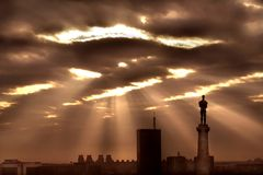 Sun through the clouds royalty free stock photography