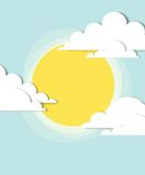 Sun in the clouds. Creative vector poster Royalty Free Stock Photography