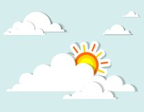 Sun in the clouds. Vector applique Stock Photo