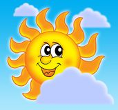 Sun with clouds. Color illustration of Sun and clouds vector illustration