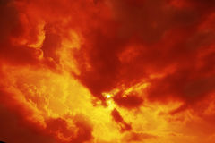 Sun and clouds. Orange color. Nature background Royalty Free Stock Photography