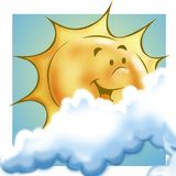 Sun and clouds. Sun, smilling, with clouds vector illustration