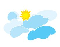 Sun and Clouds. Sun bursting through the clouds. Illustration created in Illustrator and digitally colored, 300 DPI. Ctreated by Frank D'Angelo Royalty Free Stock Photo