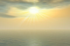 Sun in the clouds. Cloudy sky in the ocean Stock Photography