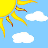 Sun with Clouds. Illustration of the sun on a blue background with clouds Stock Photos