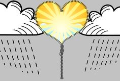 Sun and clouds. Change sun and clouds, illustration Stock Photography