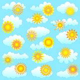 Sun and clouds collection Royalty Free Stock Image