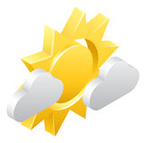 Sun and Clouds 3d Weather Icon Concept Royalty Free Stock Photography