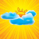 Sun and clouds design elements. With rays Royalty Free Stock Image