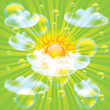 Sun and clouds design elements. With bubbles Stock Photo
