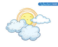 Sun with clouds Doodle  Hand Drawn, vector illustration Royalty Free Stock Image