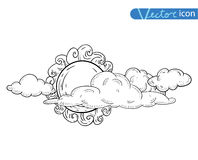 Sun with clouds Doodle  Hand Drawn, vector illustration Stock Photo