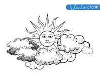 Sun with clouds Doodle  Hand Drawn, vector illustration Royalty Free Stock Images