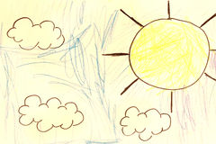 Sun and clouds drawing Royalty Free Stock Photo