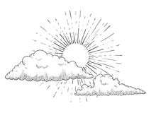 Sun with clouds engraving vector illustration royalty free illustration