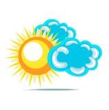 Sun and clouds flat design Stock Photos