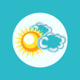 Sun and clouds flat icon design Royalty Free Stock Photography