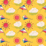 Sun with clouds and flying kites seamless pattern Royalty Free Stock Photo