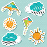 Sun with clouds and flying kites sticker collection Royalty Free Stock Images