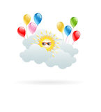 Sun in the clouds with hilarious balloons Stock Photography
