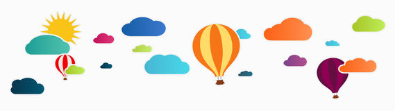 Sun and clouds with hot air balloon Royalty Free Stock Photo