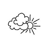 Sun with clouds icon. Doodle line art weather sign Stock Image