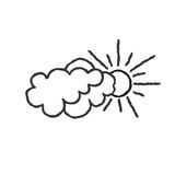 Sun with clouds icon. Doodle line art weather sign Royalty Free Stock Image