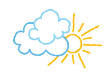 Sun with clouds icon. Doodle line art weather sign illustration Stock Photos