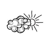 Sun with clouds icon. Doodle line art weather sky sign Royalty Free Stock Images