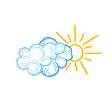 Sun with clouds icon. Doodle line weather sign illustration Royalty Free Stock Image
