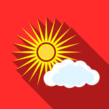 Sun and clouds icon, flat style Stock Photography