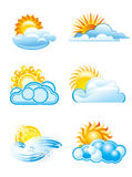 Sun with clouds icons. In different style Stock Photos