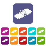 Sun and clouds icons set. Vector illustration in flat style in colors red, blue, green, and other Stock Images