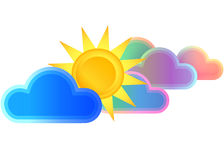 Sun and clouds. Sun clouds  illustration color Royalty Free Stock Photos