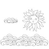 Sun and clouds line drawing vector illustration. Line art vector Royalty Free Stock Photo
