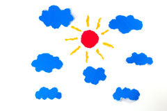 Sun and clouds paper craft artwork Stock Image