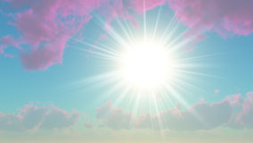Sun among the clouds purple Stock Photography