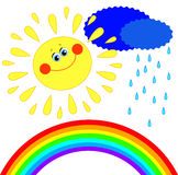 Sun, clouds and rain and a rainbow Stock Photos